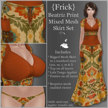 {Frick} Beatriz Print Mixed Mesh Skirt Set