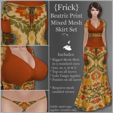 {Frick} Beatriz Print Mixed Mesh Skirt Set