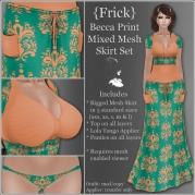 {Frick} Becca Print Mixed Mesh Skirt Set