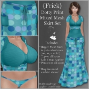 {Frick} Dotty Print Mixed Mesh Skirt Set