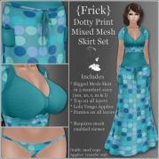 {Frick} Dotty Print Mixed Mesh Skirt Set