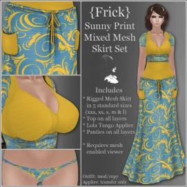 {Frick} Sunny Print Mixed Mesh Skirt Set
